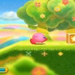 Kirby pasando por el primer nivel
