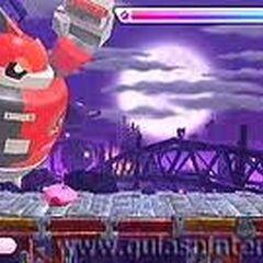 Kirby en la fase 6 del modo extra, luchando con HR-D3