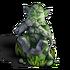 Monkey statue mouth mossy