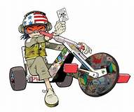 A pic of her on her trike holding someing saying death from below