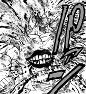 Gamu suffering damage from resisting Haruka's attack