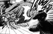 Raionji hitting Akira with Katsu