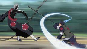 Asuma countering Hidan