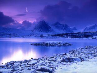 Cold mountain lake at dusk skarstad norway