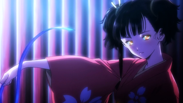 File:Mumei taking off her ribbon to fight.png