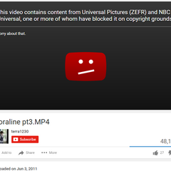 NBCUniversal taking down an upload of Coraline. Just fuck them for being copyright cunts.