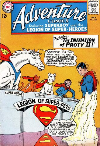 File:Adventure Comics 322 showing Comet, Streaky, Krypto and Monkey with ProtyII.jpg