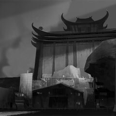 Early concept artwork of the factory exterior by Mike Yamada