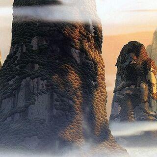 Concept artwork of the Cliff Town Mountains by Jon Klassen