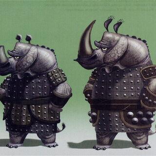 Two of the rhino guard variants - Medium Guard and Heavy Guard by Tony Siruno and Raymond Zibach