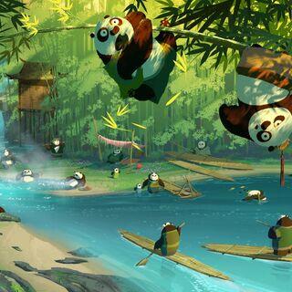 Concept art of the secret panda village