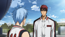 Kuroko and Kagami outside the WC building.png