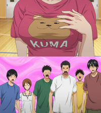 Seirin looking at Momoi's breasts
