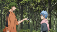 Midorima gives Kuroko his present