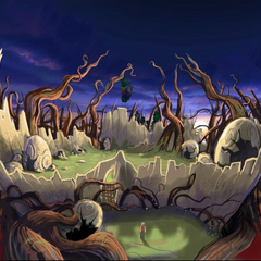 Artwork of the flying forest where the lava worm resides