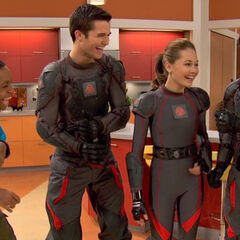 Leo, Bree and Adam laughing at Chase because of his robot