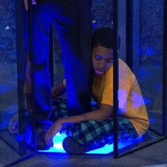 Leo sleeping in Adam's capsule