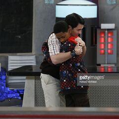 Parallel Leo and Donald's goodbye hug