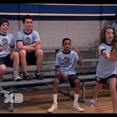Bree throws a basketball
