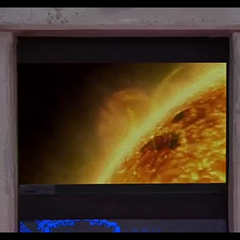 The screen showing the solar flare