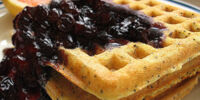 Poppy Seed Waffles with Blueberry Sauce