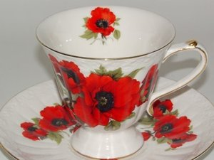 File:Tea Cup Gallery Red Poppy Porcelain Tea Cup and Saucer.jpg