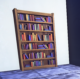 Wooden Bookcase prop placed