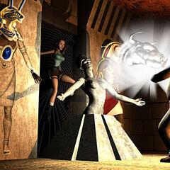 Lara en una tumba egipcia