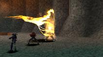 Fire Bird uses Volcanic Peck