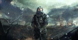 Man-helmet-armor-art-clouds-weapon-dark-rain-soldier-apocalyptic-free-desktop-background