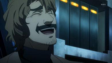 Kakumeiki valvrave-18-souichi-father-scientist-laughing-mad-crazy-insane-lab coat
