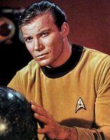Captain kirk with globe