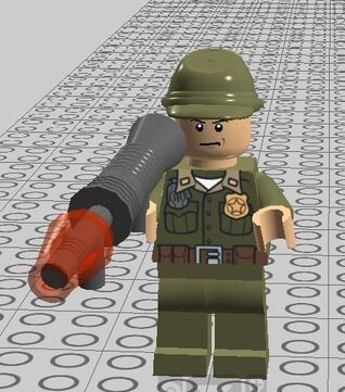 Male soldier with rocket launcher
