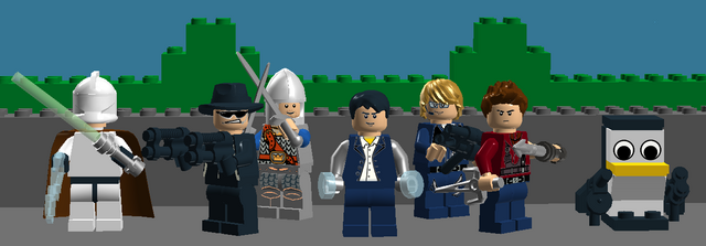 File:RaceLord Comics Main Cast (left to right) Clone Gunner Commander Jedi, SuperSpyX, Awsomeknight1234, RaceLord, 1999bug, CM4S, CzechMate.png