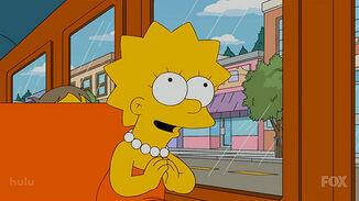 Lisa Simpson prays to Buddha,