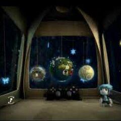 The inside of the LittleBigPlanet pod.