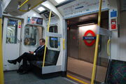 Circle line train C69 at Westminster interior view