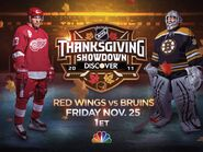 NBC Sports' NHL On NBC's Thanksgiving Showdown, Detroit Red Wings Vs. Boston Bruins Video Promo For Friday Afternoon, November 25, 2011