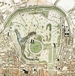 Regent's Park London from 1833 Schmollinger map