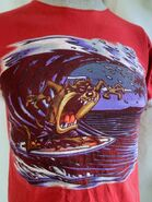 Vintage 1997 Looney Tunes Tazmanian Devil Surfing Red Ringer T Shirt