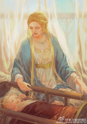 File:Idril Celebrindal with baby Earendil Ardamire in Gondolin by Egorit.jpg