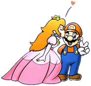 Peach kissing Mario SMBDX