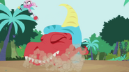 Minka dodges T-rex