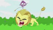 Purple Monkey jumps over Lion