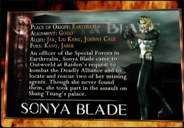 Mortal Kombat Deception - Biographies - Sonya Blade