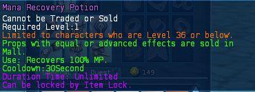 Level 02 5mana recovery potions pics