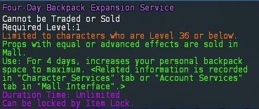 Level 21 4day backpack expansion service pics