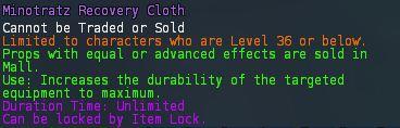 Level 22 5minotratz recovery cloth pics