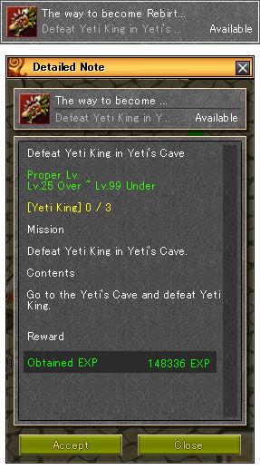 Quest Yeti Rebirth