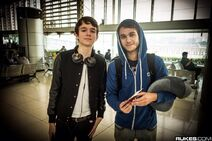 Zedd and Madeon at an airport